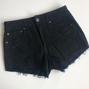 AE High waist black cut off denim shorts